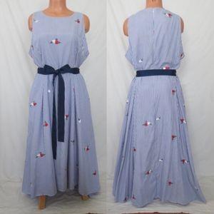 TAHARI ASL retro pinstripe embroidered dress 18 XL